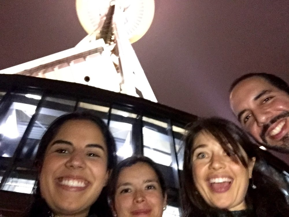 After the conference:  Gabi ,  Zsuzsanna , myself, and  Nayib  Seattle's Space Needle!