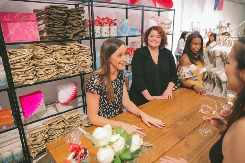 "We had set up a faux store for editors and bloggers to ""shop"" Drew's new collection."