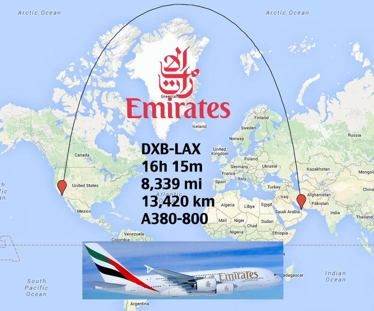 Flight Pattern LAX to DXB