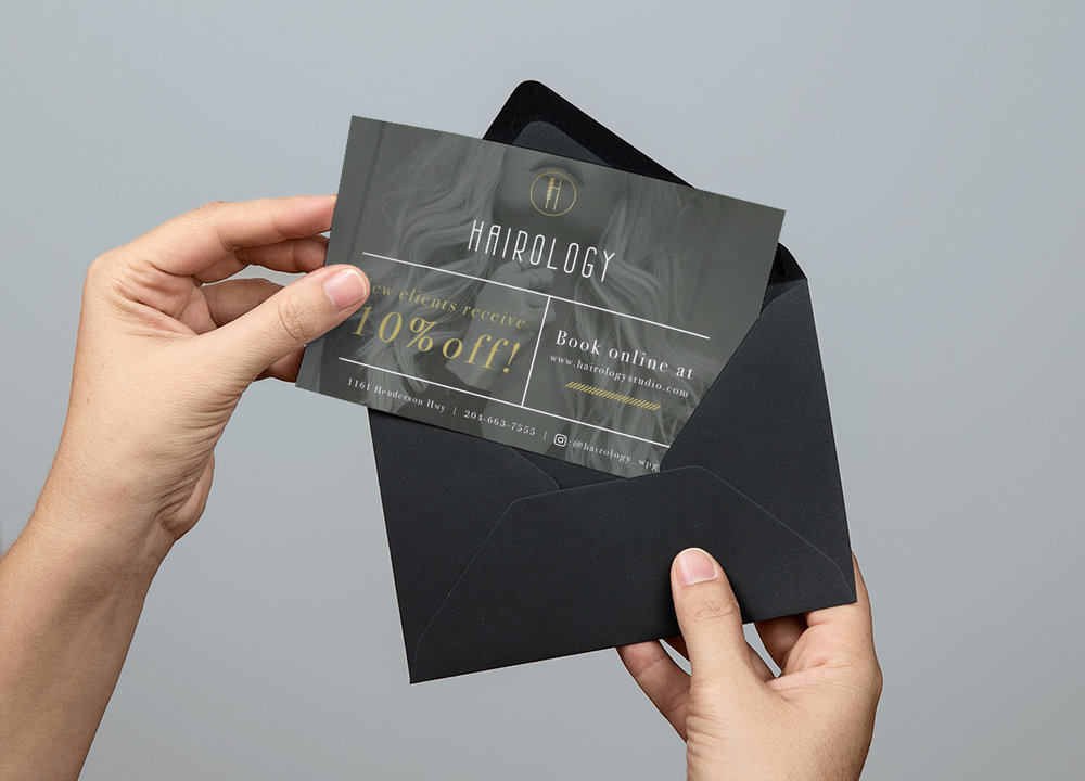brand identity salon post card mailer