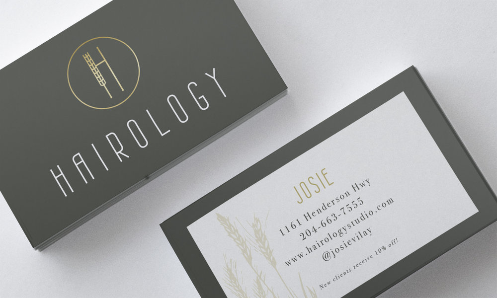 brand identity custom business card hair salon winnipeg