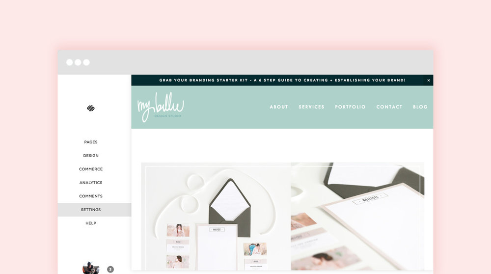 setting up my squarespace website