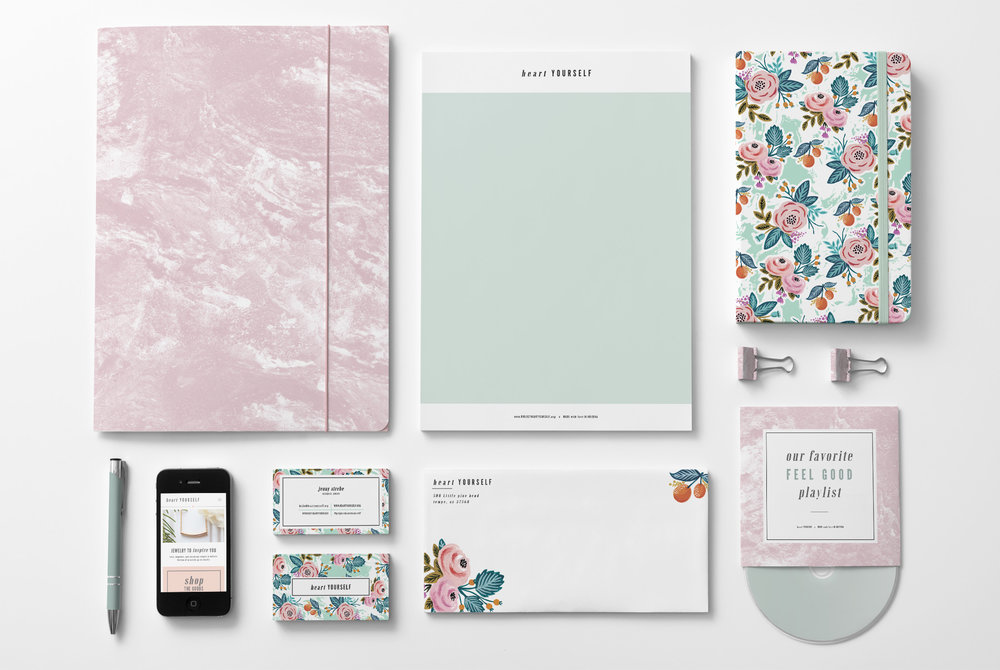 feminine and delicate brand identity mock up