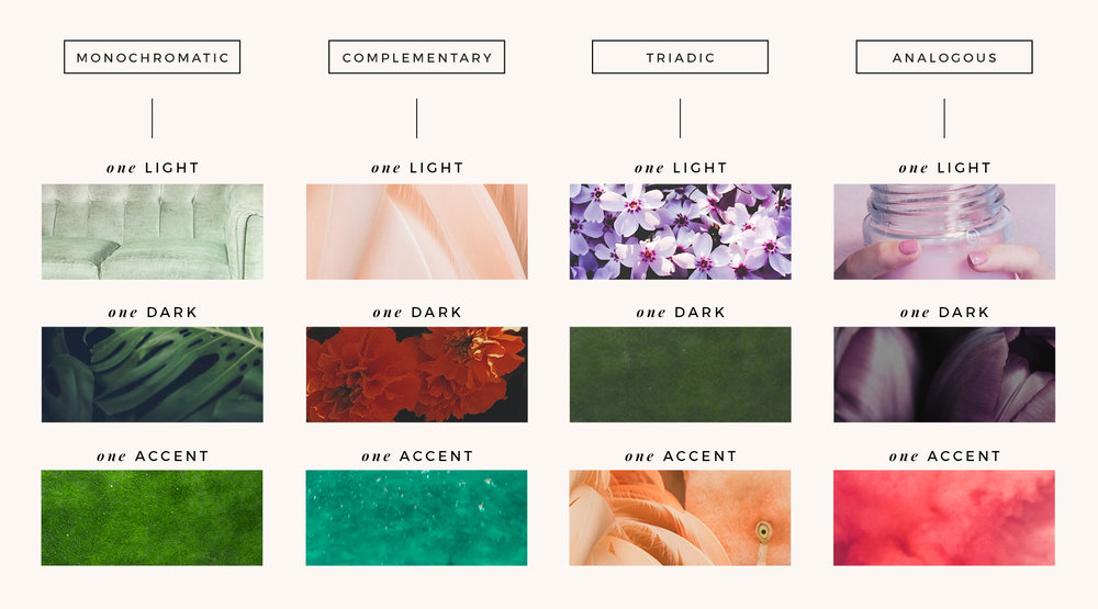 Examples of light, dark and accent color combinations