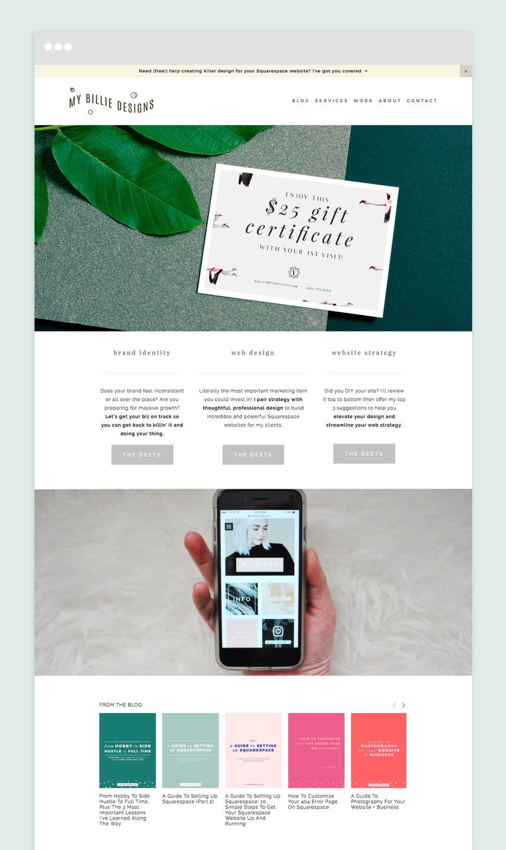 Announcement bar and summary block to showcase your blog posts on your home page (Squarespace)