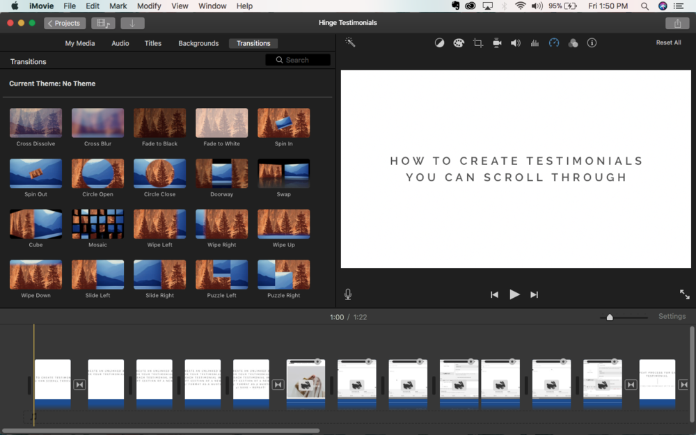 iMovie is a free tool I use in my business to edit my screen recordings and regular video. I love this program because it's intuitive, easy to use, lets me control speed of my clips, add transitions, add custom slides, rearrange video and more!