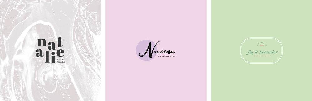 Sweet, feminine + lady like pre-made logos!