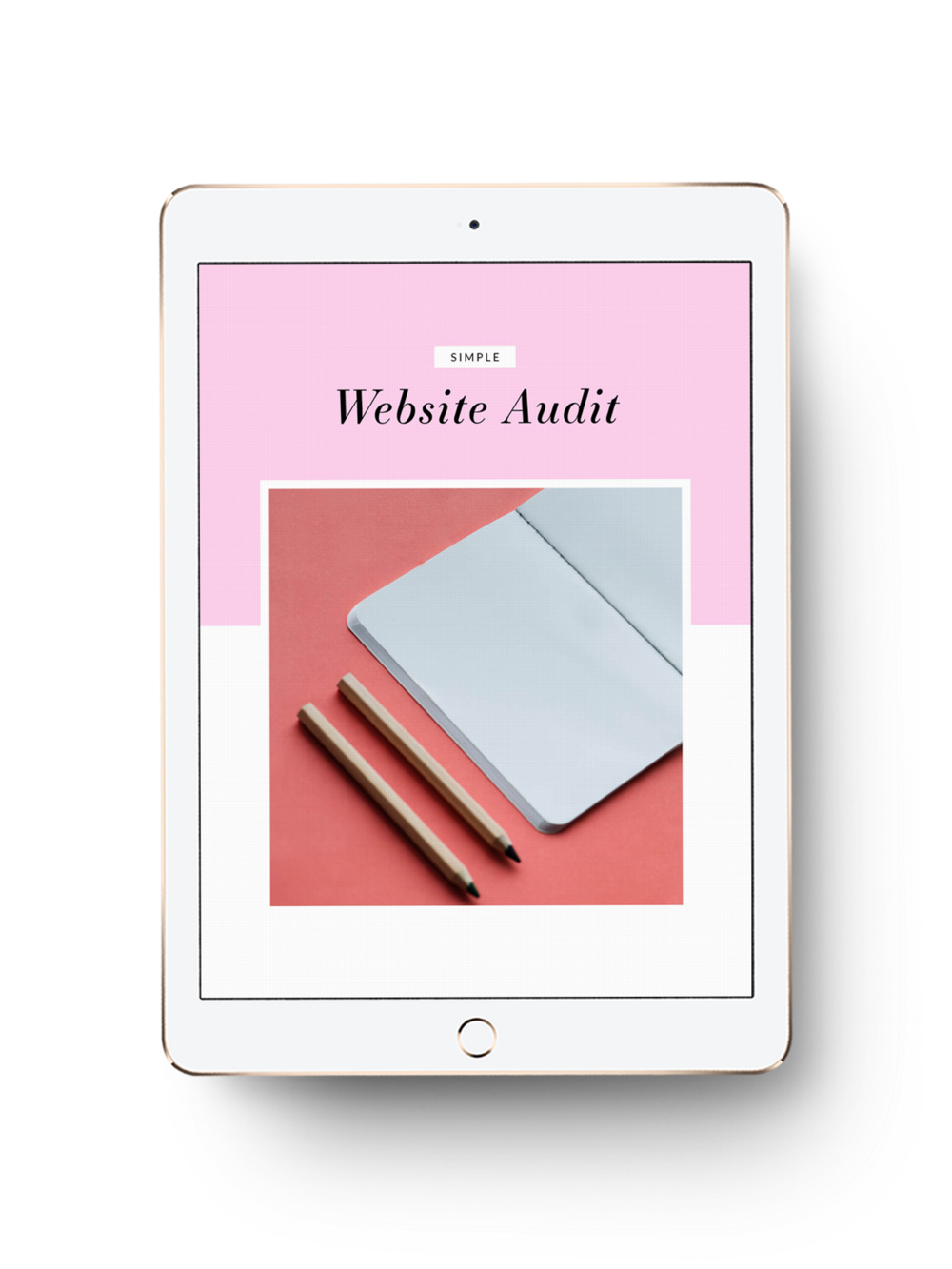 Free website audit template - mocked up on an iPad