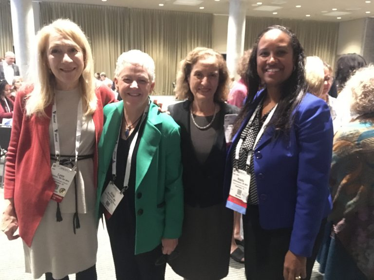 Leyla McCurdy, chair of the Children's Environmental Health Committee, Environment Section, APHA; Lynn Goldman, dean of the GWU Milken School of Public Health; Gina McCarthy, former EPA Administrator; and Nsedu Obot Witherspoon, executive director of the Children's Environmental Health Network.