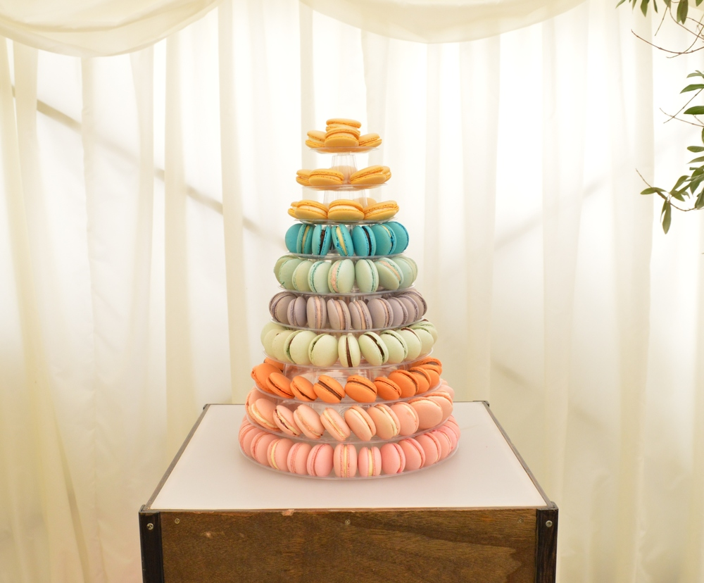 Pantone Macaron Tower Complete with blackberry fillings, Raspberry, lemon, chocolate and lime, chocolate and orange and delectable Madagascan vanilla Serves 80 £400