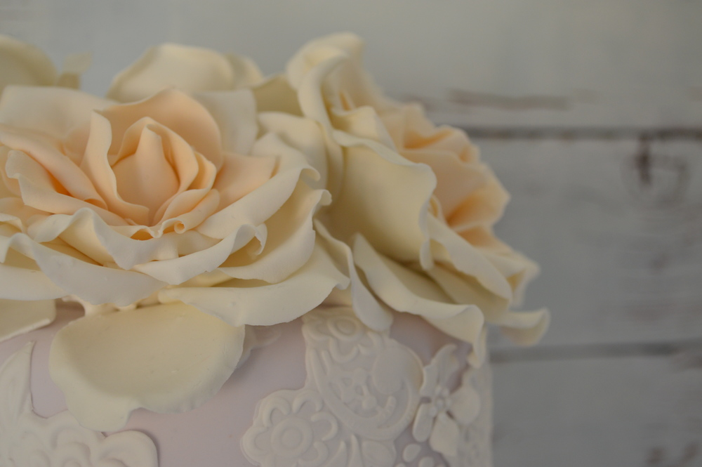Ivory centered sugar avalanche roses