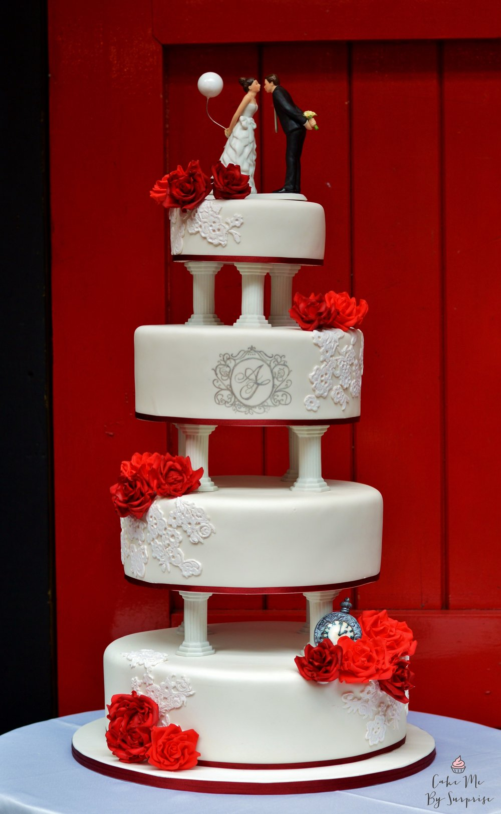 Red and Burgandy Roses and Lace Tiered Wedding Cake
