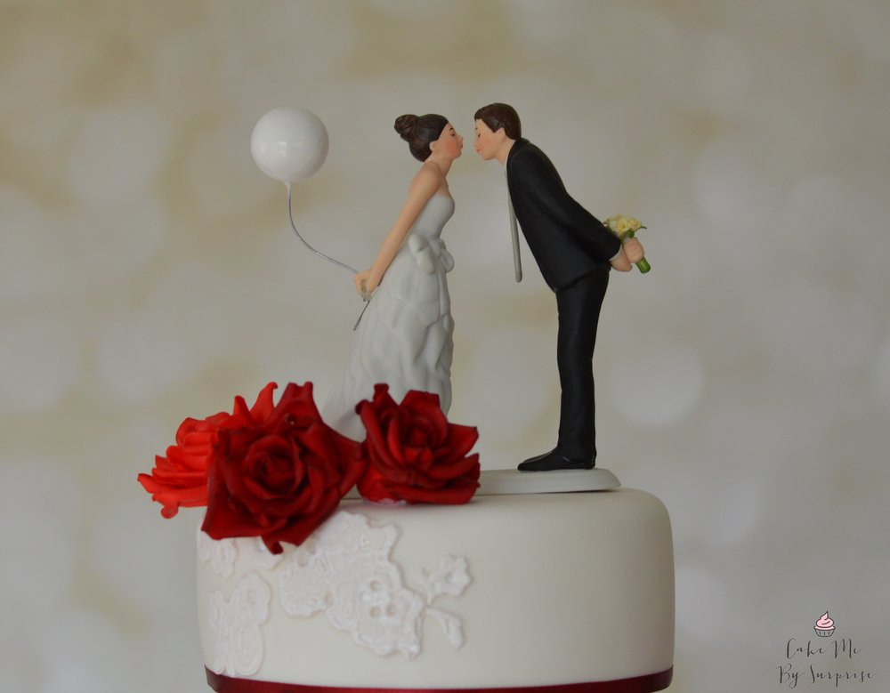 Romantic balloon bride and groom topper