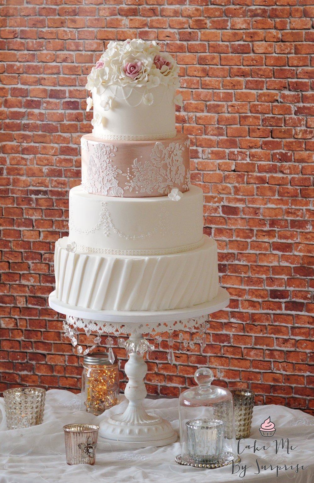 Blush Pink and White Bridal Wedding Cake