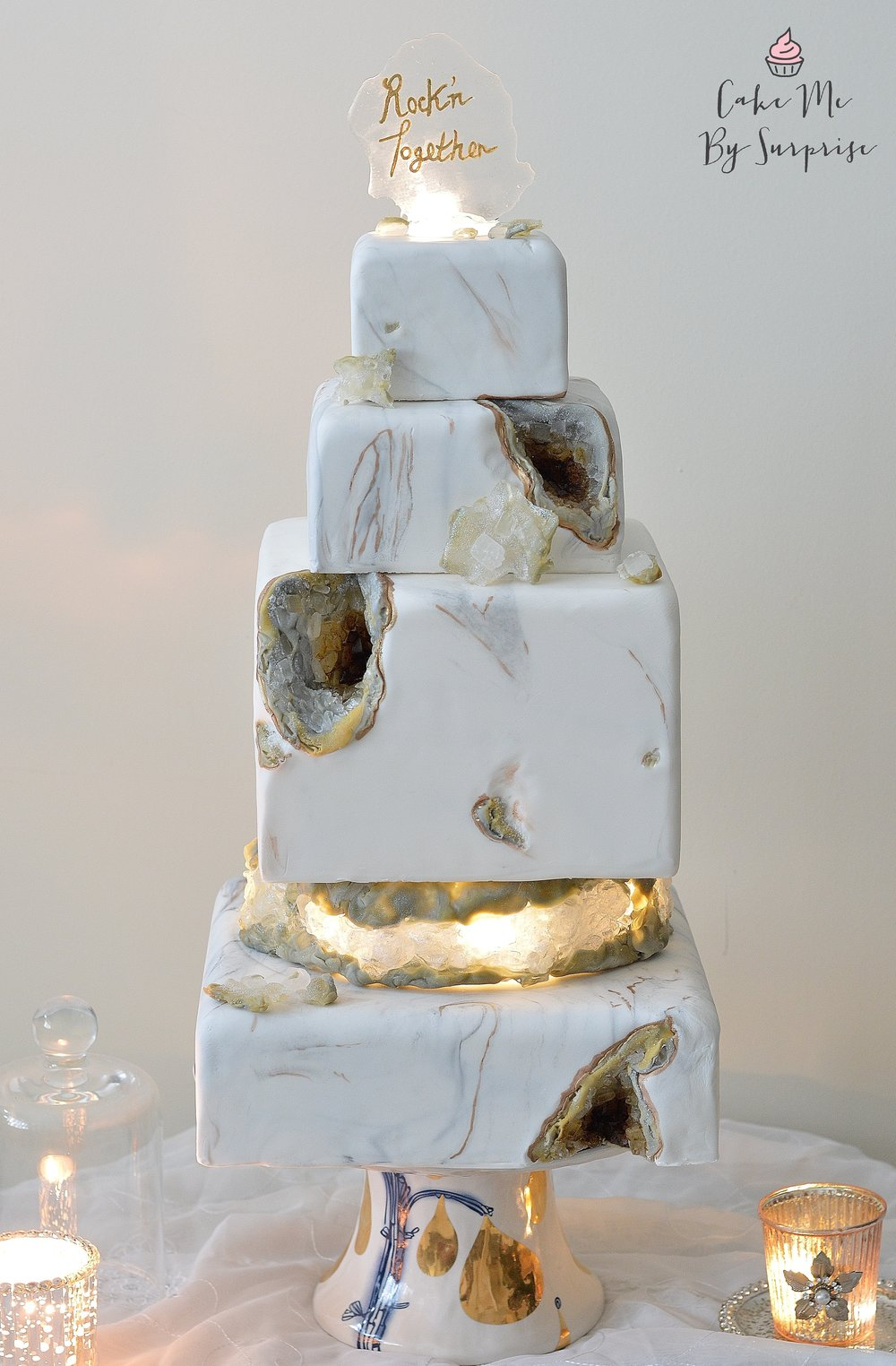 Glowing Light Up Geode Marble Wedding Cake
