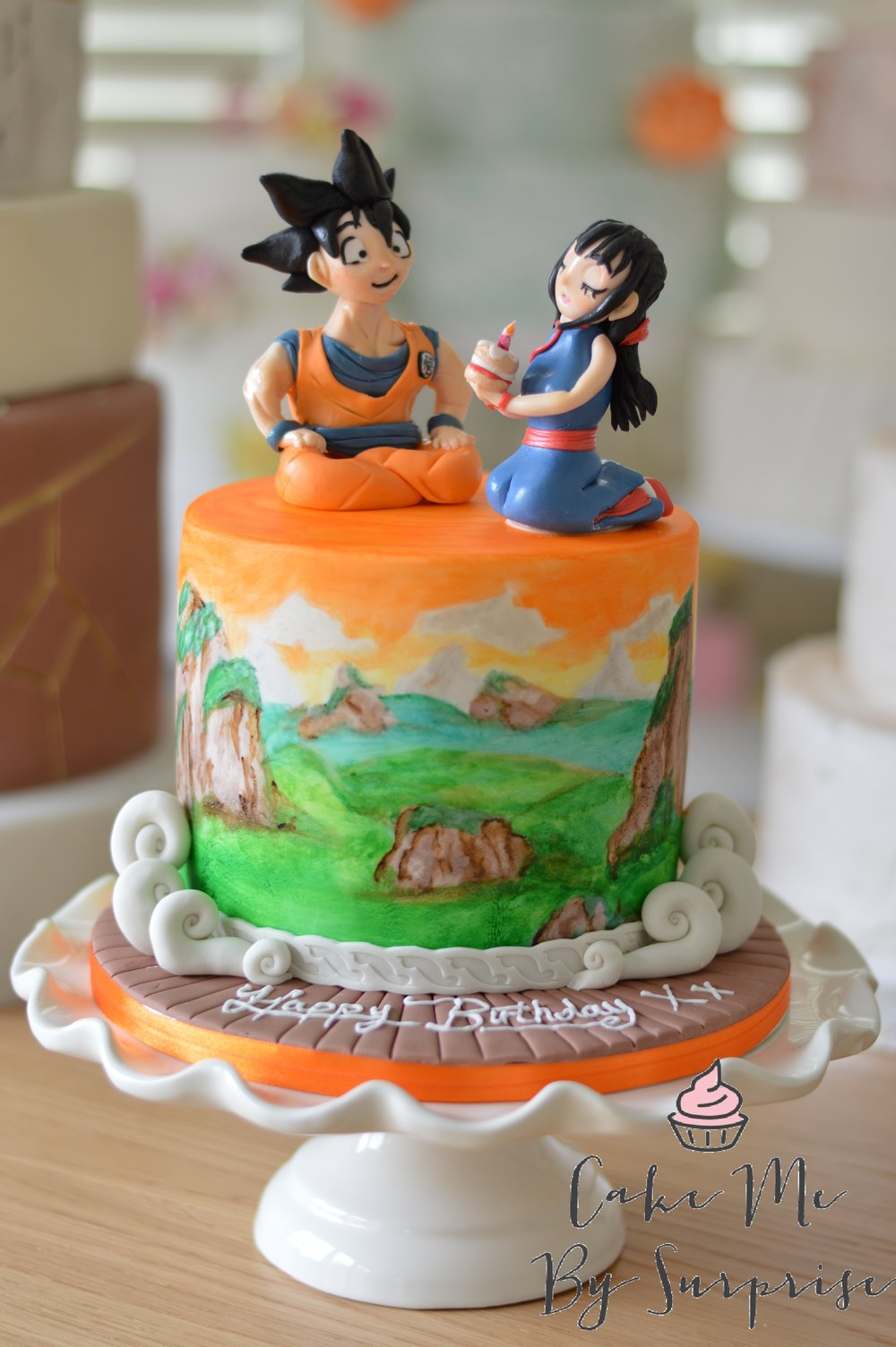 Dragon ball Goku and Chi chi birthday cake