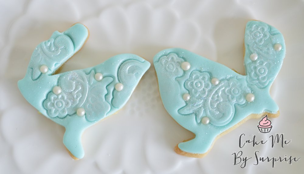 Iced bird wedding biscuits
