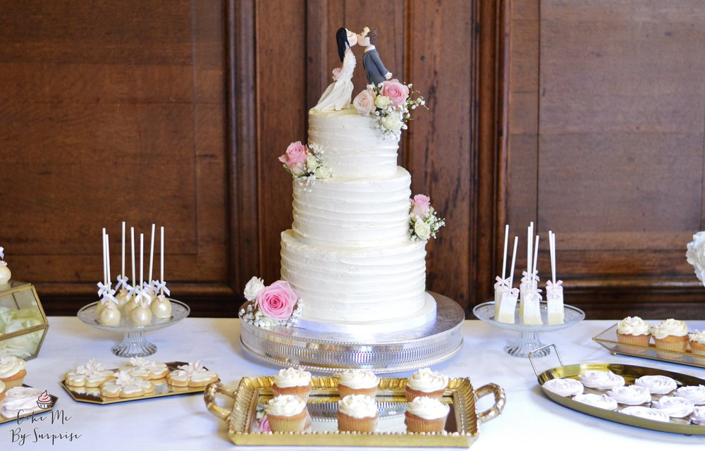 Wedding cake dessert table pretty chic cake me by surprise