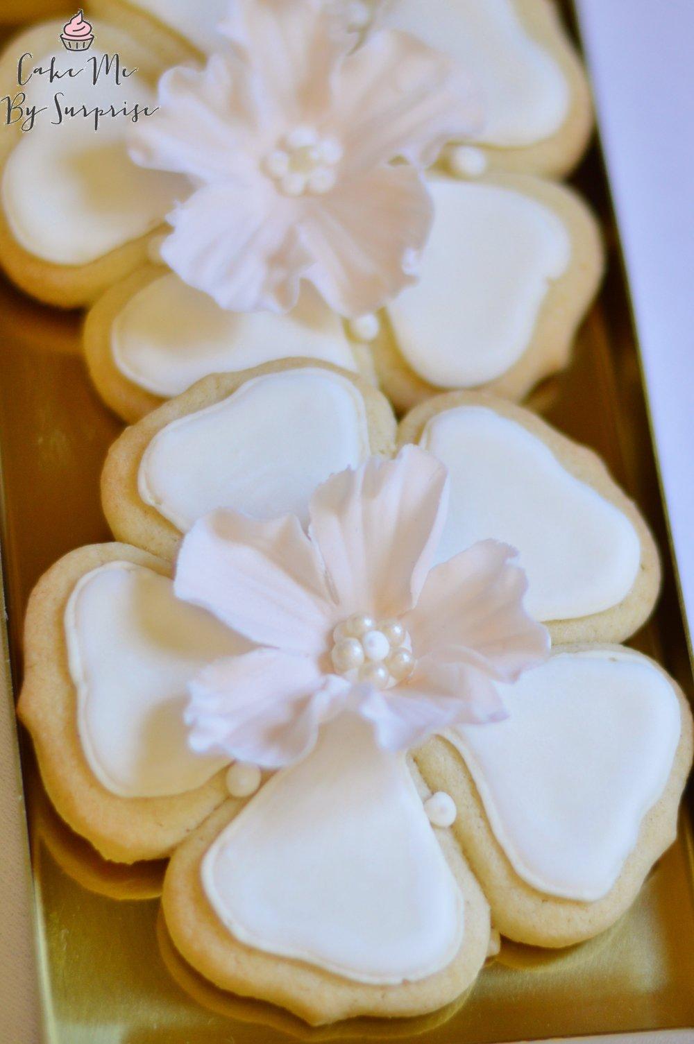 flower iced wedding biscuits