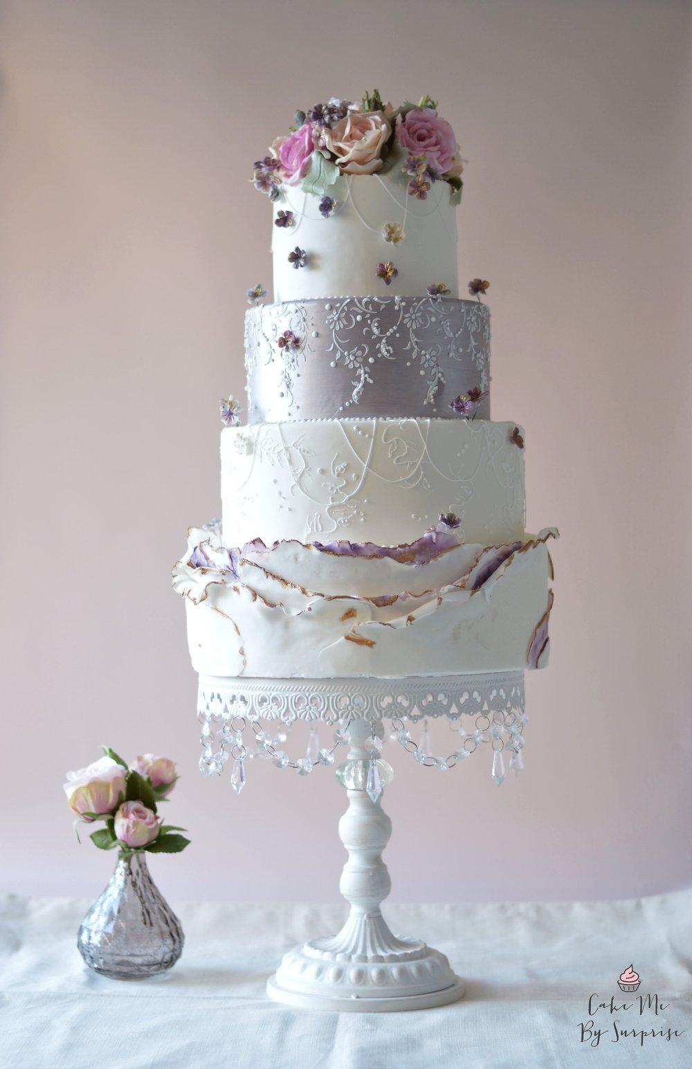 Meredith - Purple Luster Wedding Cake Serves 190-200 £750