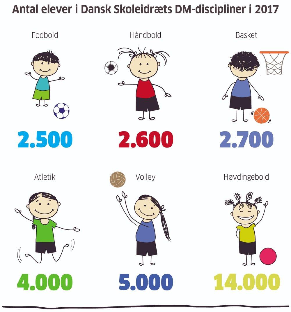 Det er Dansk Skoleidræts kredse, som arrangerer turneringstilbud i forskellige idrætsgrene. Lige fra de indledende lokale stævner til afviklingen af de store DM'er. Mere end 30.000 elever var med i 2017.