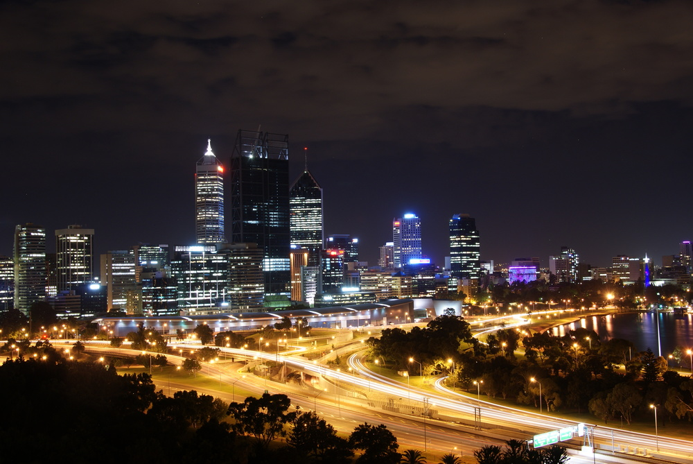 Perth city at night. source: https://en.wikipedia.org/wiki/Perth#/media/File:Perth_at_night_in_2013.jpg