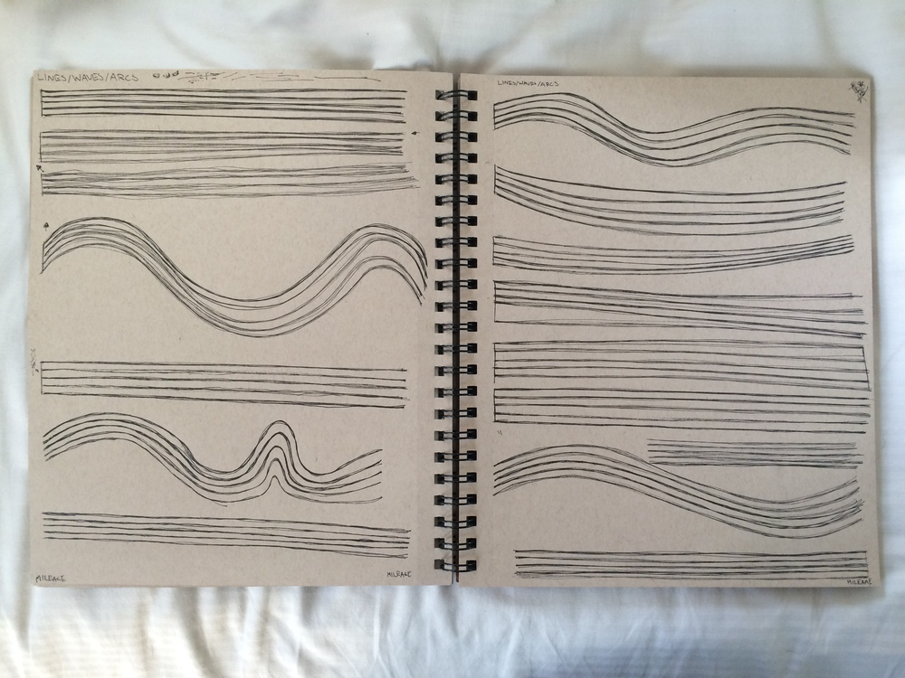drawing lines over each other 8 times. [dynamic sketching exercises from my own sketchbook.]