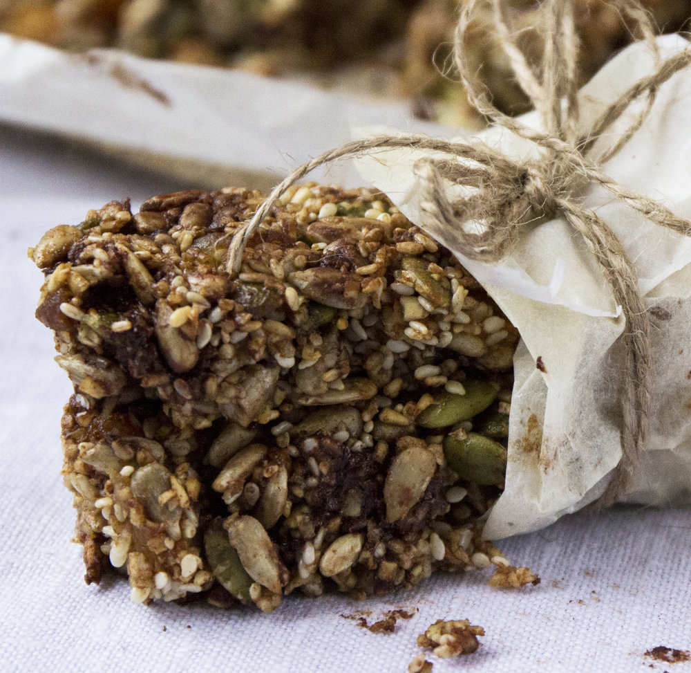 Oh-So-Good Granola Bars    These seed heavy granola bars are full of fiber and will give you that oh-so-good feeling at the end of the day!