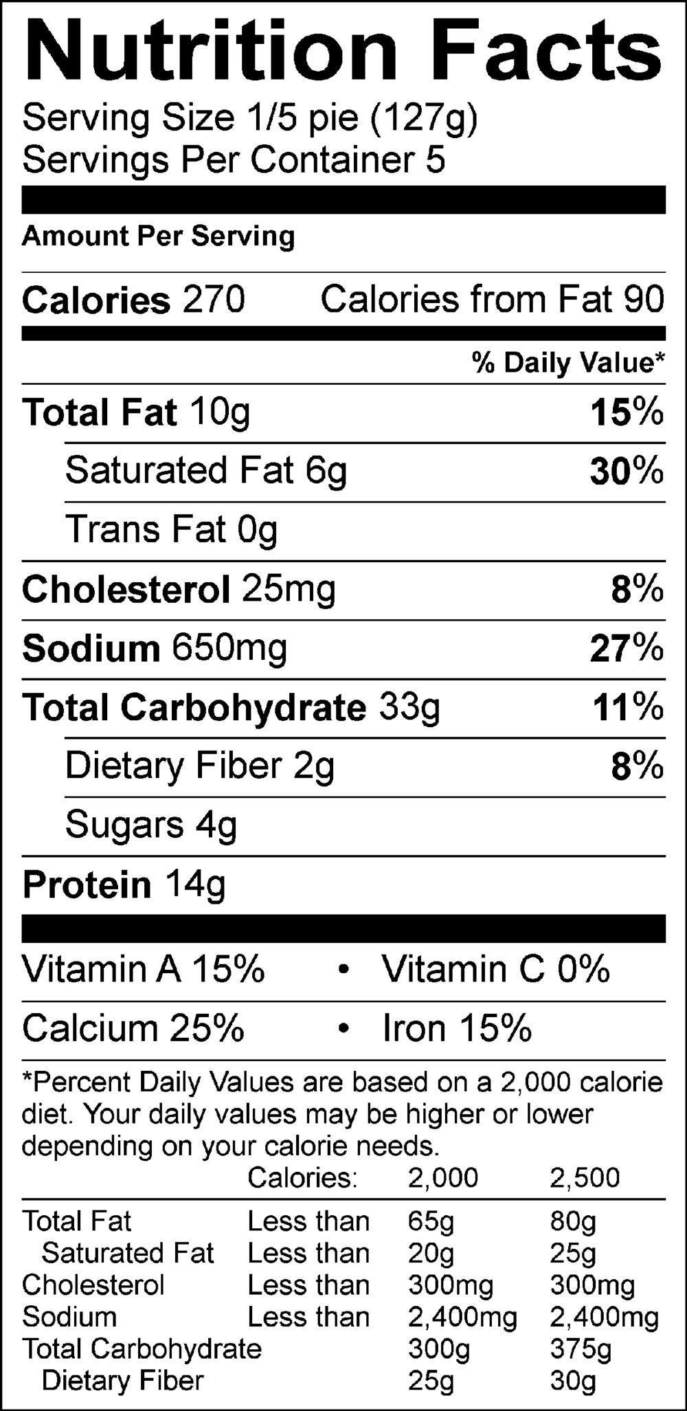 Nutritional Info Mickeys Wholesale Pizza