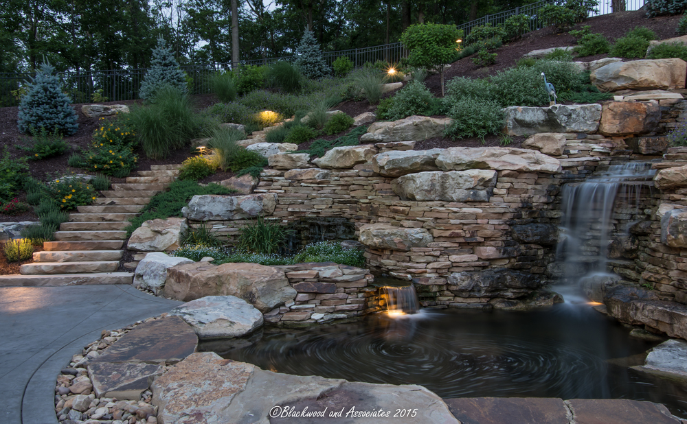 waterfall and outdoor steps in sewickley, pa