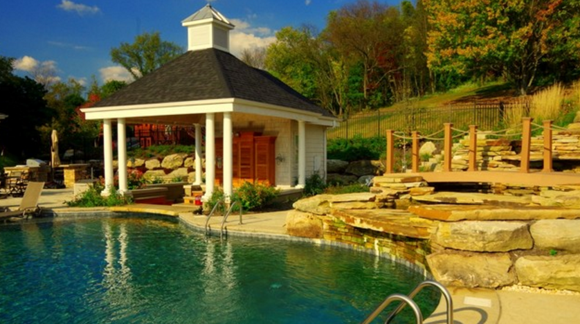 Swimming pool, outdoor kitchen, and fireplace in pittsburgh, PA area
