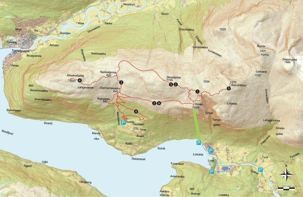 Kart over området.  MERK: Dette er eit kart over vandrestiar om sommaren.
