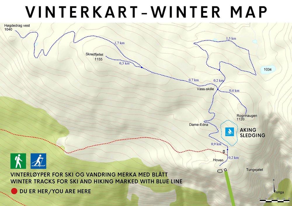 Klikk for å forstørre kartet. Merk at forhold og lengde på løypene vil variere etter snømengde og ver.