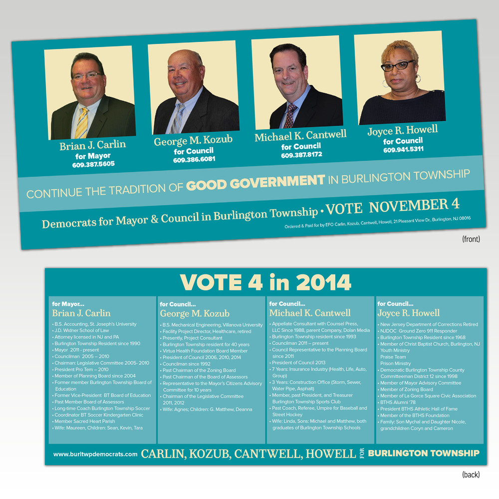 Burlington County Election Palm Cards