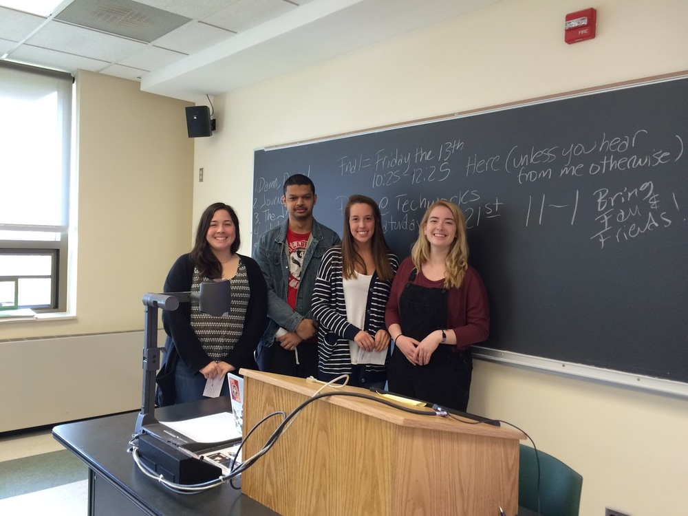 The Marconi Tower group Sharing their research (L-R): Kimberly Fernandez, Jonathan Rodriguez, Chelsey Briggs, and Sophia Mosner-Koor, Binghamton University