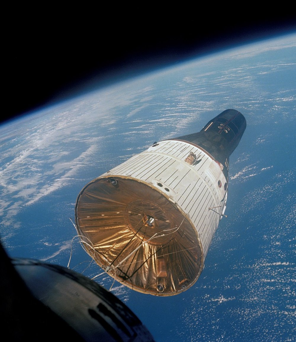 15 Dec 1965 - first Space Rendezvous - Gemini VIA (Schirra & Stafford) photographed from Gemini VII (Borman & Lovell) with Anscochrome film.