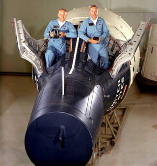 Buzz Aldrin & Jim Lovell in training for gemini Xii