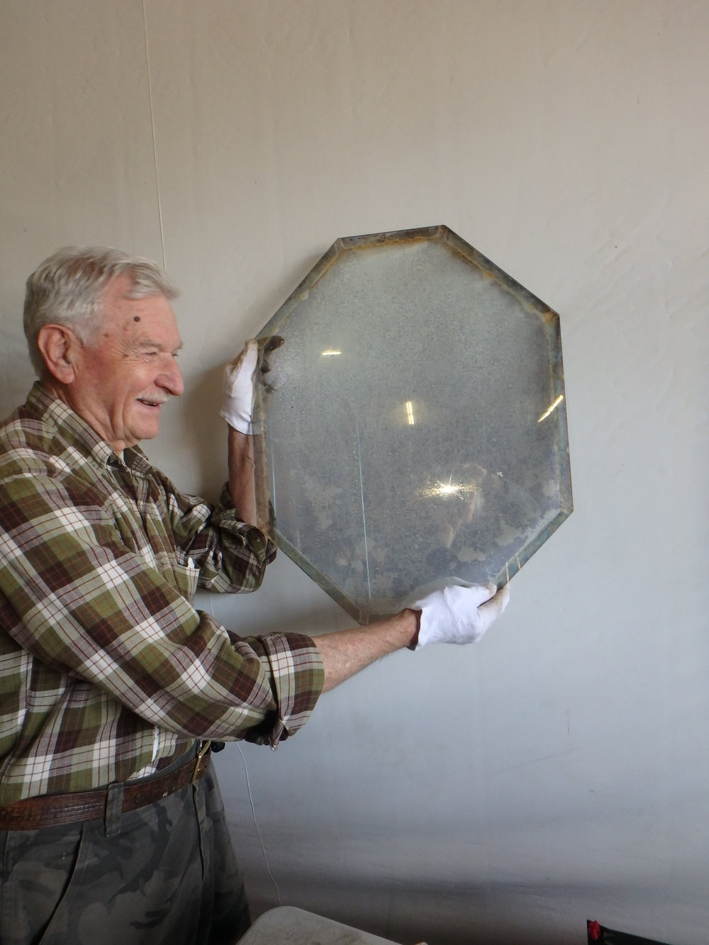 John Lash holding original eyepiece beamsplitter