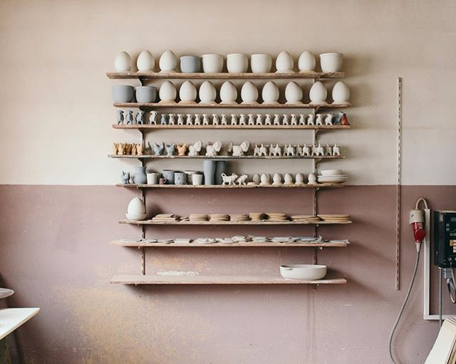 Shelf at a pottery studio I visited for @toepoi_goods. January, 2019.