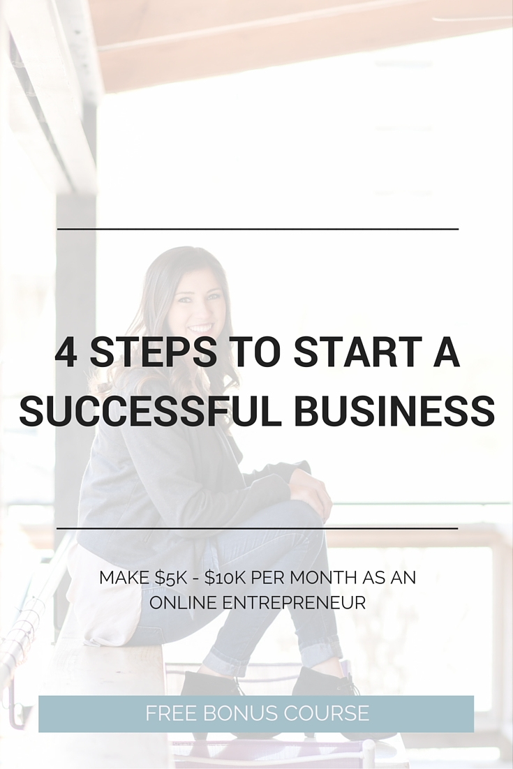 How to start a successful business online! Wanting to make $5K to $10K per month? Here are the first 4 steps you should take. Plus a totally free epic bonus 7-day course.