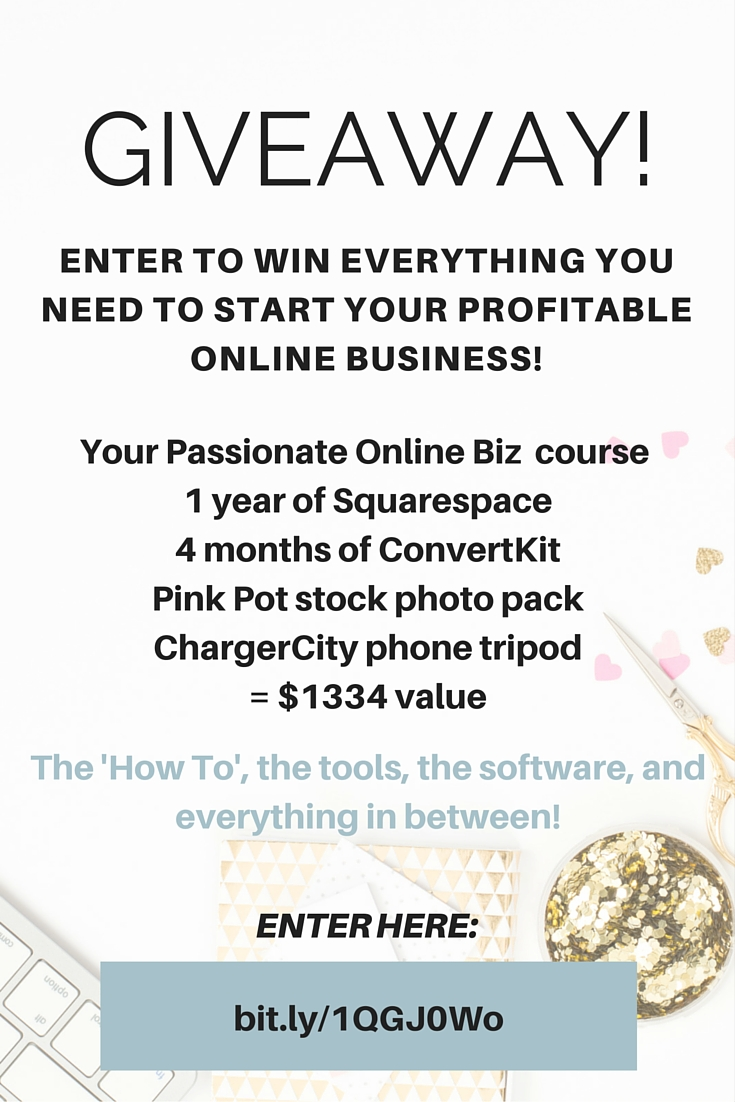 Giveaway! ENTER TO WIN EVERYTHING YOU NEED TO START YOUR PROFITABLE ONLINE BUSINESS! A course that walks you through the process to go from nothing to profit, the tools, the software and MORE! Click here to enter! http://bit.ly/1QGJ0Wo