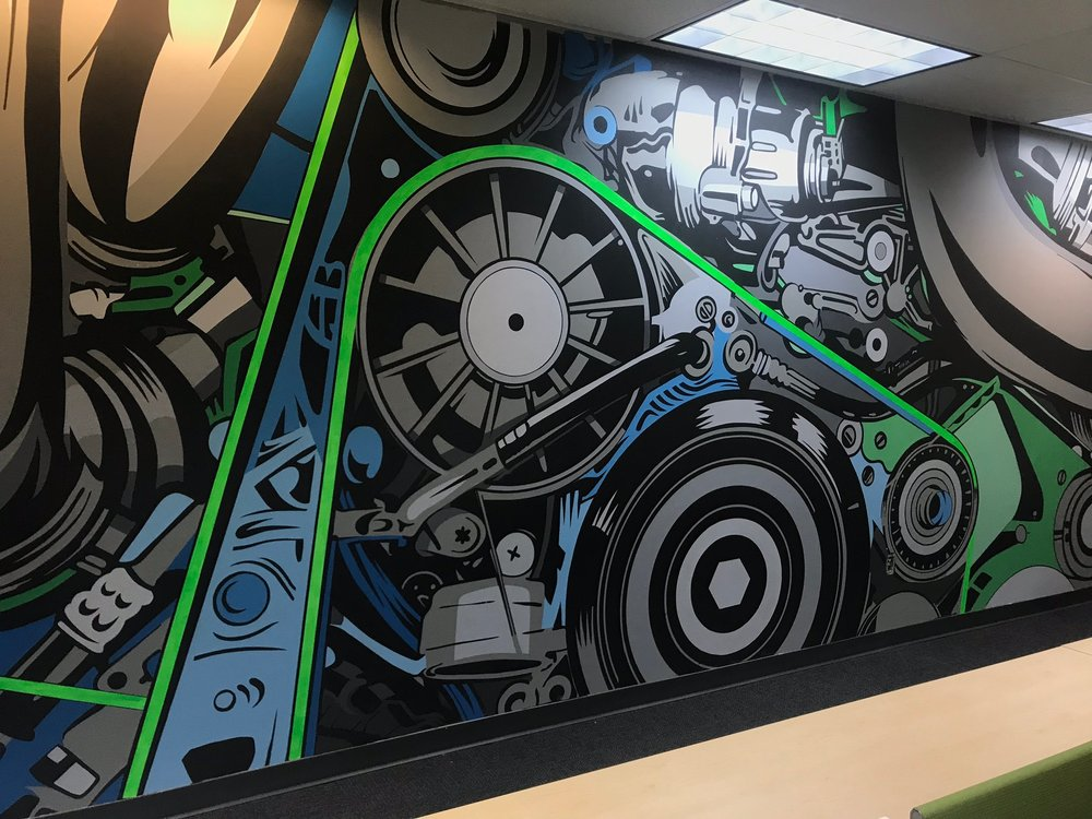 "Detail of ""The Machine"" Mural by artist John Tindel"