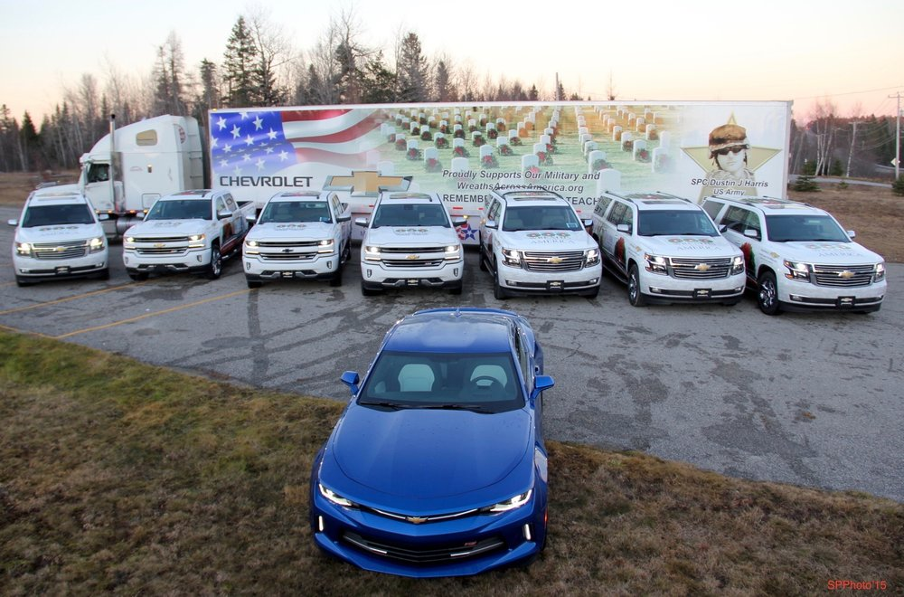 The Chevy-wrapped vehicles for 2015 Escort to ANC.