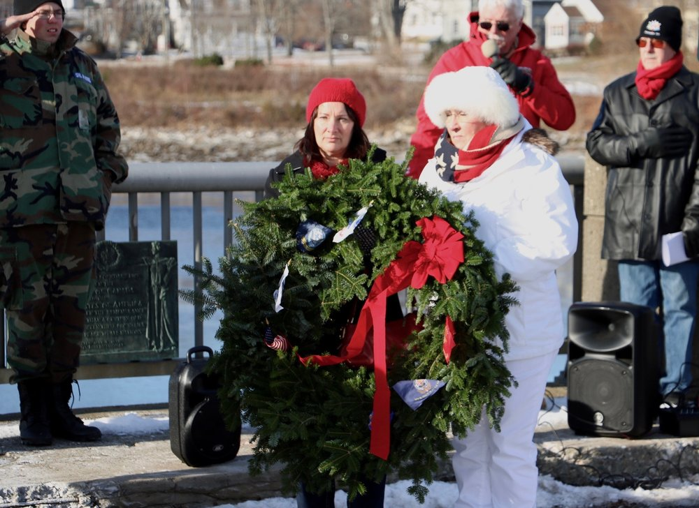 American Gold Star Mother Candy Martin (right) and Canadian Silver Cross Mother Laurie Greenslade (left) during HART Ceremony (Honoring Allies Remembering Together) on U.S.-Canadian Border in Calais, Maine December 10, 2016.