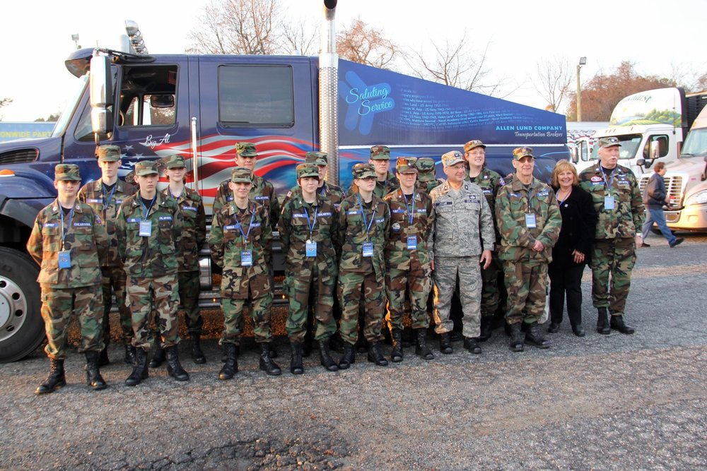 The Allen Lund Company Truck on the 2015 Annual Wreath Escort to Arlington with the Civil Air Patrol and Maine's First Lady Ann LePage