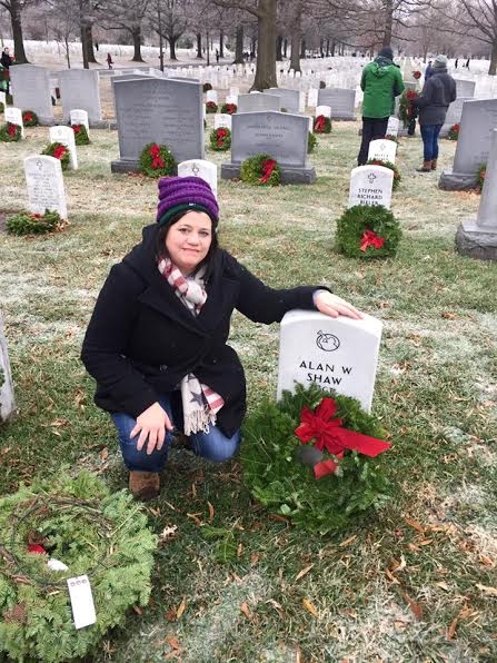 Angela Beason visits Ariana's stepdad in Arlington National Cemetery on National Wreaths Across America Day 2016 and shares the experience with her back in Arkansas.