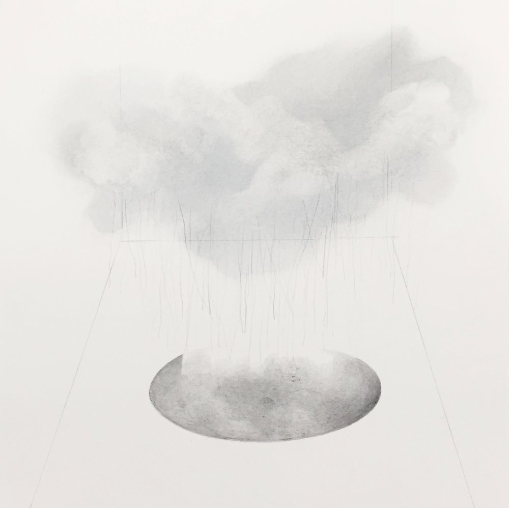 "cloud/hole , 2016 graphite on paper, 10"" x 10"" unframed $50.00 - available"