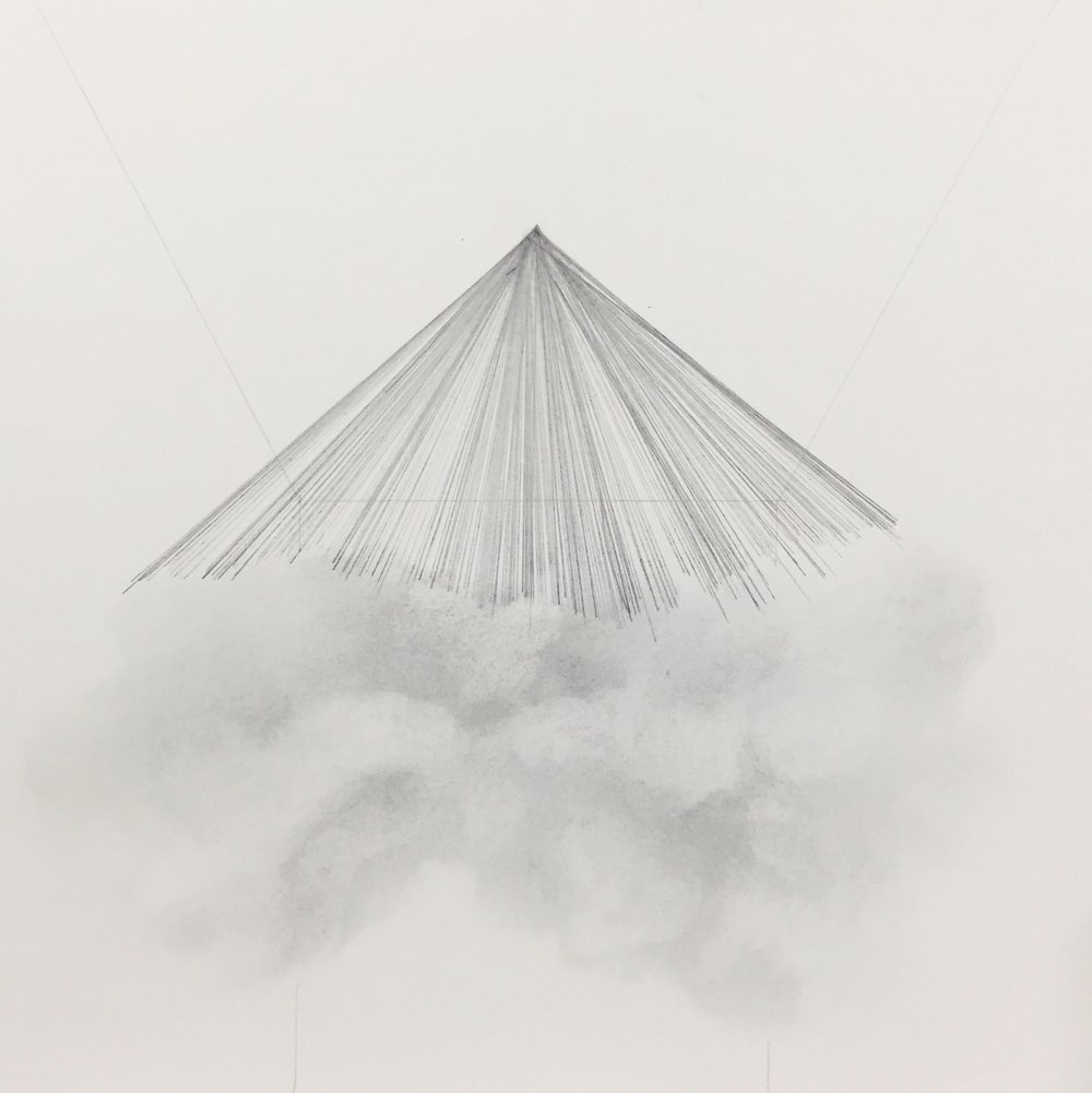 "cloud/tent , 2016 graphite on paper, 10"" x 10"" unframed $50.00 - available"