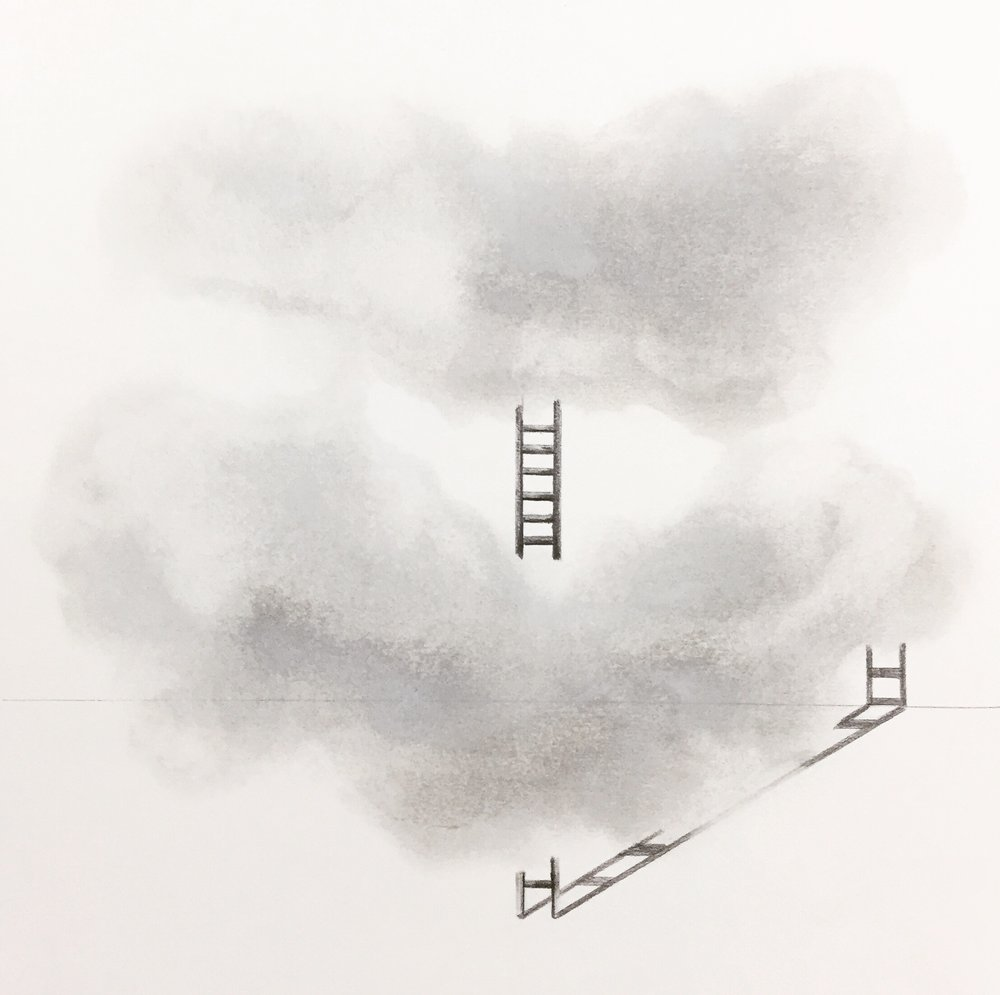 "cloud/ladder , 2016 graphite on paper, 10"" x 10"" unframed $50.00 - SOLD"
