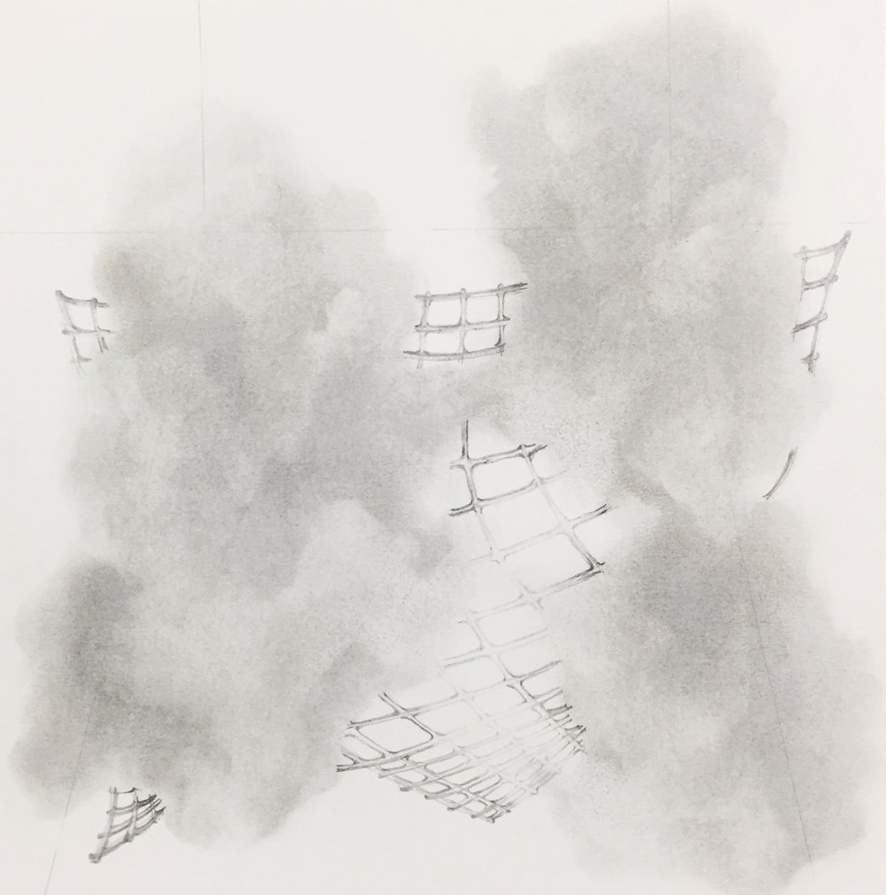 "cloud/fence, 2016 graphite on paper, 10"" x 10"" unframed $50.00 - available"